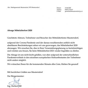 Mittelalterfest 2020 abgesagt.